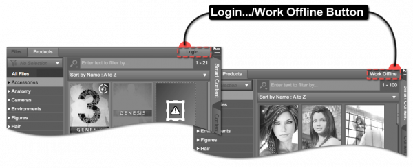 Login/Work Offline Button